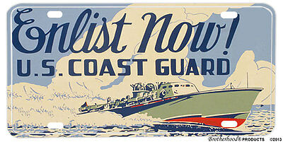 United States Coast Guard Aluminum NOVELTY License Plate - Enlist Now!