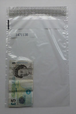 250 x Plastic Tamper Evident Note / Bank Bags / Cash / Money / Valuables LARGE