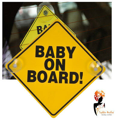 BABY ON BOARD Car Window Sign New BABY Yellow CAR SIGN Toddler Safety Sign