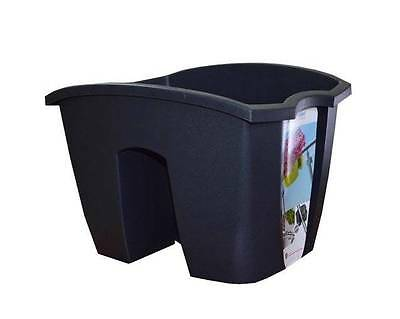 New Plastic Balcony Graphite Crown Pot Flower Planter Railing 24Cm (Cro24)