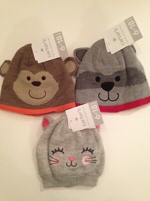 Carters Boy Girl Beanie Hat   Mitten Set Size 6-18 Months Kitty Monkey  Raccoon 3270983382f4