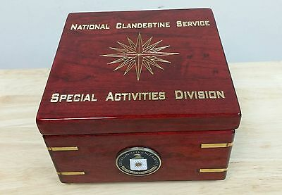 "CIA NCS SAD 16 Point CIA Star Rosewood w Gold Paint Flip Clock Box 6""X6""X4"""