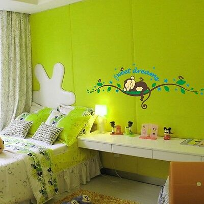 Sweet Dream Sleep Monkey Removable Wall Decal Sticker Kid Baby Room Home Decor
