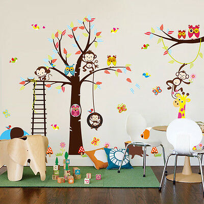 Large Animals Monkey Owl Tree Removable Wall Decal Sticker Kid Room Home Decor