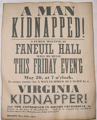 Justice for Kidnapped Slave Poster, Boston 1854, anti-slavery, reproduction