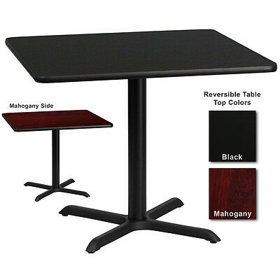 """24'' x 42"""" Restaurant Table with Black or Mahogany Reversible Laminate Top"""