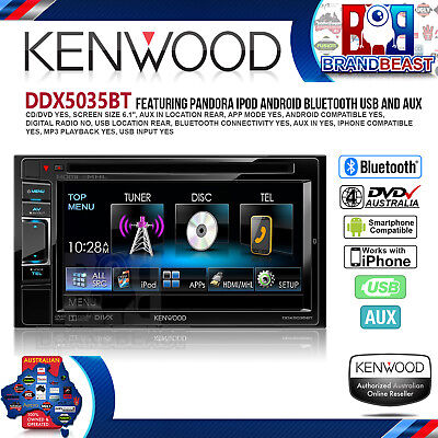 "Kenwood Ddx5035bt 6.1"" Bluetooth Monitor Car Dvd Usb Ipod Iphone Receiver Player"