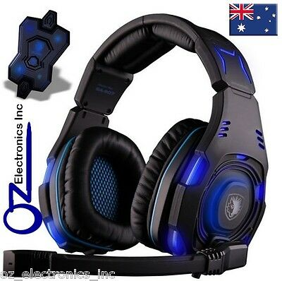 SADES Knight 7.1 Surround PC Gaming Headset Headphones Mic Blue Black SA-907 NEW