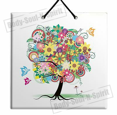DECORATIVE TREE OF LIFE ARTISTIC Wooden WALL hanging tile Plaque