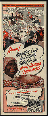 1947 AUNT JEMIMA Pancakes - Happifyin' & Satisfyin - Racist Dialect - VINTAGE AD