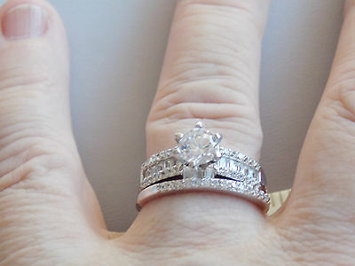 Simply Stunning Sterling Silver & CZ Wedding & Engagement Rings Sz Q