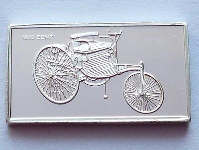 Classic Cars Benz 1885 Silver Proof Ingot Made from Franklin Mint !