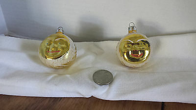 2 Vintage Christmas Tree ornaments Moon face