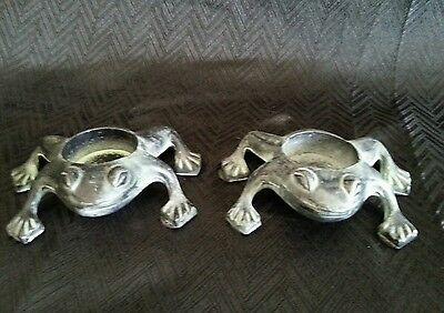 Pair Of Nu Trendz Department 54 Frog Tealite Candle Holders RARE EUC Toads #1089