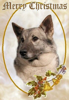 Elkhound Dog A6 Christmas Card Design XELKHND-3 by paws2print