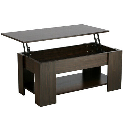Lift Top Coffee Table w/ Hidden Compartment Storage Shelves Modern Furniture