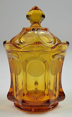 """Fostoria Amber Coin Dot Pattern Lidded Candy Dish 6.5"""" Tall Crystal Home Decor"""
