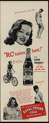 1947 Actress GENE TIERNEY Loves to drink ROYAL CROWN Cola - RC - VINTAGE AD