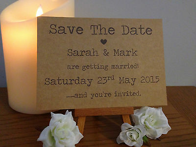 100 x Personalised Handmade Save The Date Cards Vintage Shabby Chic Typewriter