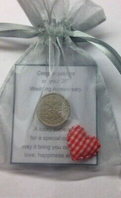 Silver Wedding Anniversary Lucky Sixpence Gift  & Charm - 25th