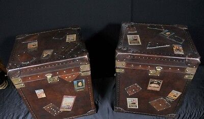 Pair English Leather Luggage Trunks Side Tables Campaign Furniture