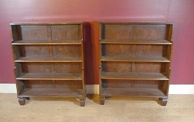 Pair English Regency Open Book Cases Bookcase Mahogany