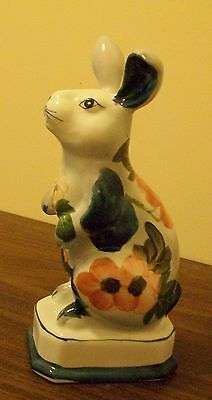 Andrea by Sadek Rabbit Bunny figurine Easter Blue Yellow Coral Flowers ceramic