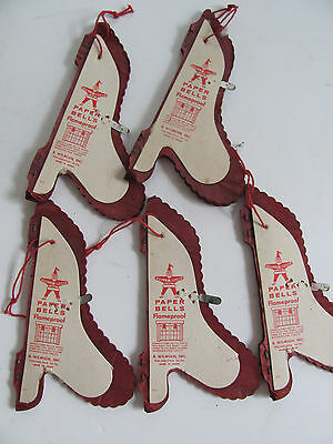 """5 Vintage Holly Brand Honeycomb Paper Bells 4"""" Tall JAPAN Lot"""