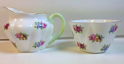 Shelley China Dainty Sugar & Creamer #13424 RPFMN Rare Rendition with Gold Trim