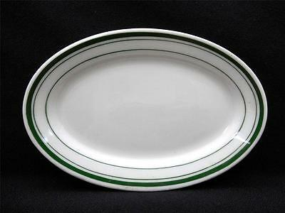 "JACKSON VITRIFIED CHINA 6 3/8""  Oval Plate Restaurant Ware 3 Green Edge Stripes"