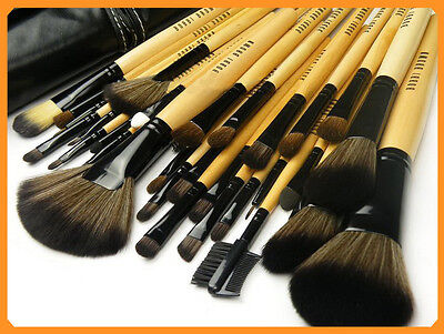 Natural 32pcs Cosmetic Leather Professional Eyebrow Shadow Makeup Brushes Set