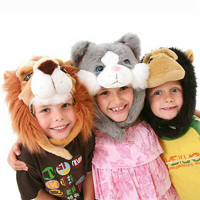 Childrens Furry Animal Hat with Velcro Chin Straps