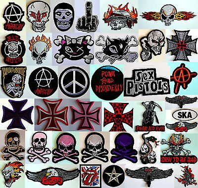 IRON ON PATCHES patch punk goth gothic emo biker metal jacket skulls anarchy emo
