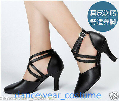 Ladies GENUINE LEATHER Ballroom Latin Modern Rumba Samba Tango Salsa Dance Shoes