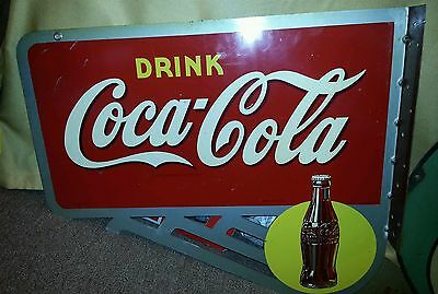 1940s Drink Coca Cola Coke flange sign double sided soda display yellow dot red