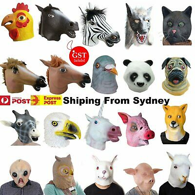 MIX Horse Head Mask Creepy Animal Halloween Costume Theater Prop Latex Party Toy