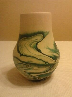 "Nemadji Art Pottery Vase - Green 7"" - Marked"