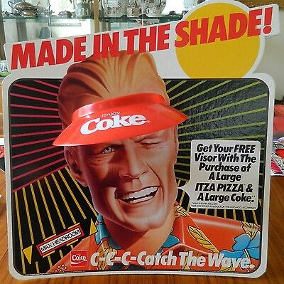 """NEW COKE'S MAX HEADROOM 16"""" X 17"""" POINT OF SALE PIECE WITH PROMOTIONAL VISOR"""
