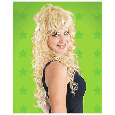 Ladies Long Curly Hair Wig Dolly Parton Punk Rock Chick 80'S Fancy Dress