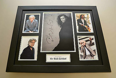 Sir Bob Geldof Signed Photo Large Framed Autograph Music Memorabilia Display COA