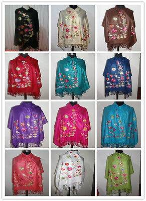 Hot New Lady Women Embroider Pashmina Shawl Wrap Flower scarf cape high quality