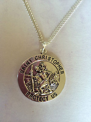 St Christopher Antique Silver tone Necklace Pendant Religious Saint Travel 22 24