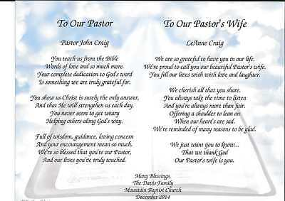 Personalized Double Poems Pastor & Pastor's Wife Gift for Appreciation Church