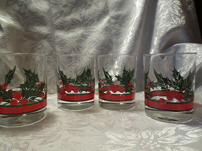 4 Vintage Libbey Christmas Holly & Berries 14 oz. Double Old Fashion Tumblers