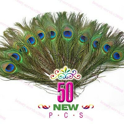 DIY Decoration 50pcs Lots New Natural Peacock Tail Feathers #S About 26-30cm Hot
