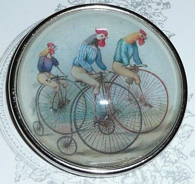 """Adorable Bicycling Chickens Domed Button 1-1/2"""" Antique Silver Toned Bezel"""
