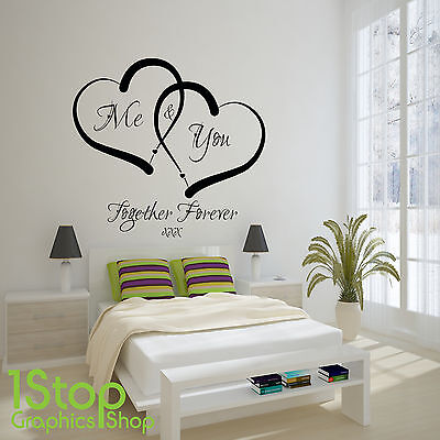 Me And You Love Heart Wall Sticker Quote - Home Wall Art Decal X338