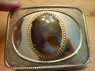 Vintage Belt Buckle with natural agate stone set in center Cowboy Cowgirl Rodeo