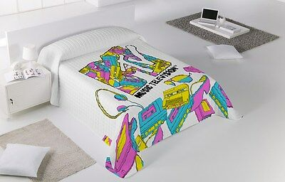MTV Colcha Bouti multipunto Cama PINK MUSIC /Single Bedding Quilt Bed Bedspread