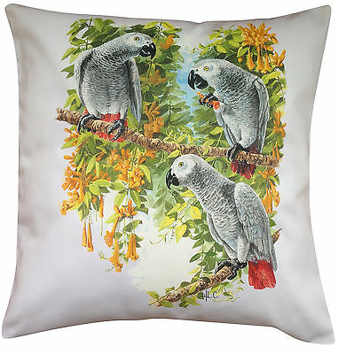 African Grey Parrot Themed Cotton Cushion Cover - Perfect Gift